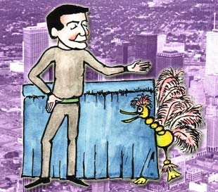 Illustration by Peter Peasgood of Ian Denny with Ostrich Marionette