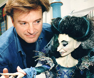 "Glenn Holden with ""The Sea Witch"" Marionette"