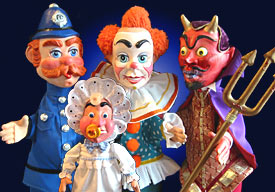 Policeman, Clown, Devil & Baby from Punch & Judy