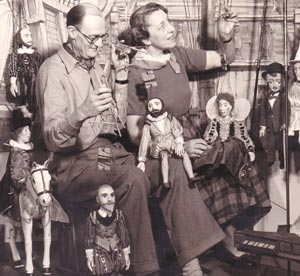 Buster & Madge Stavordale with puppets from An Elizabethan Fantasy